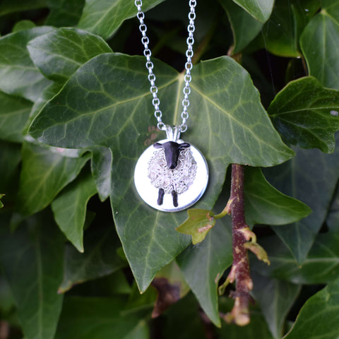 Silver circle Suffolk sheep necklace
