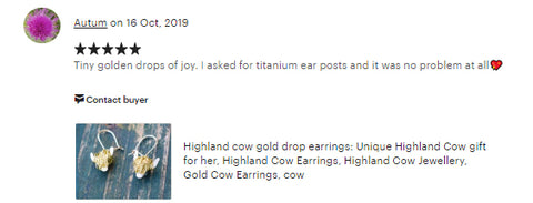 gold highland cow earrings review