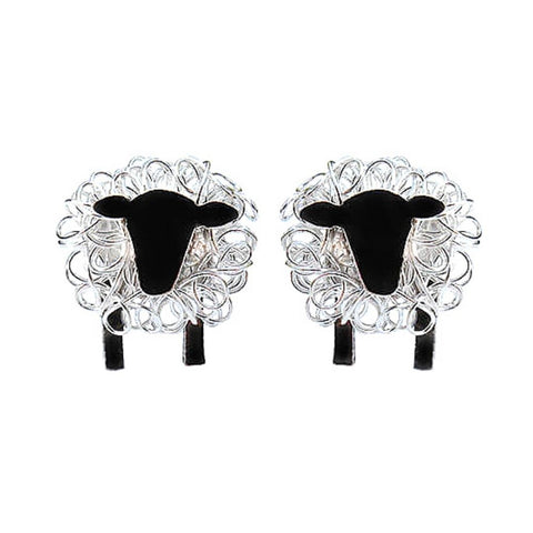 silver sheep earrings