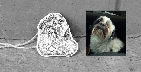 Shih Tzu dog necklace, silver Shih Tzu jewellery