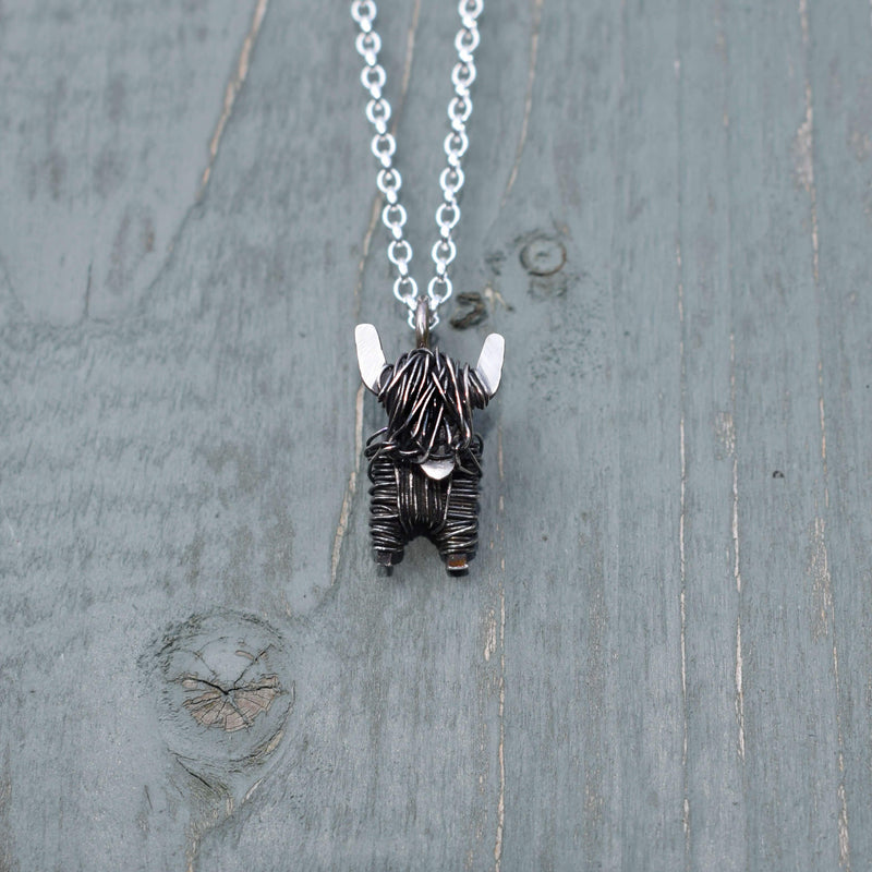 Black highland cow necklace, highland cow present for her, highland cow jewellery