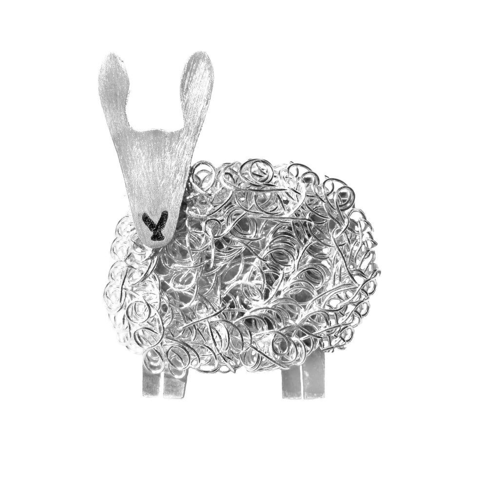 Silver Border Leicester sheep brooch