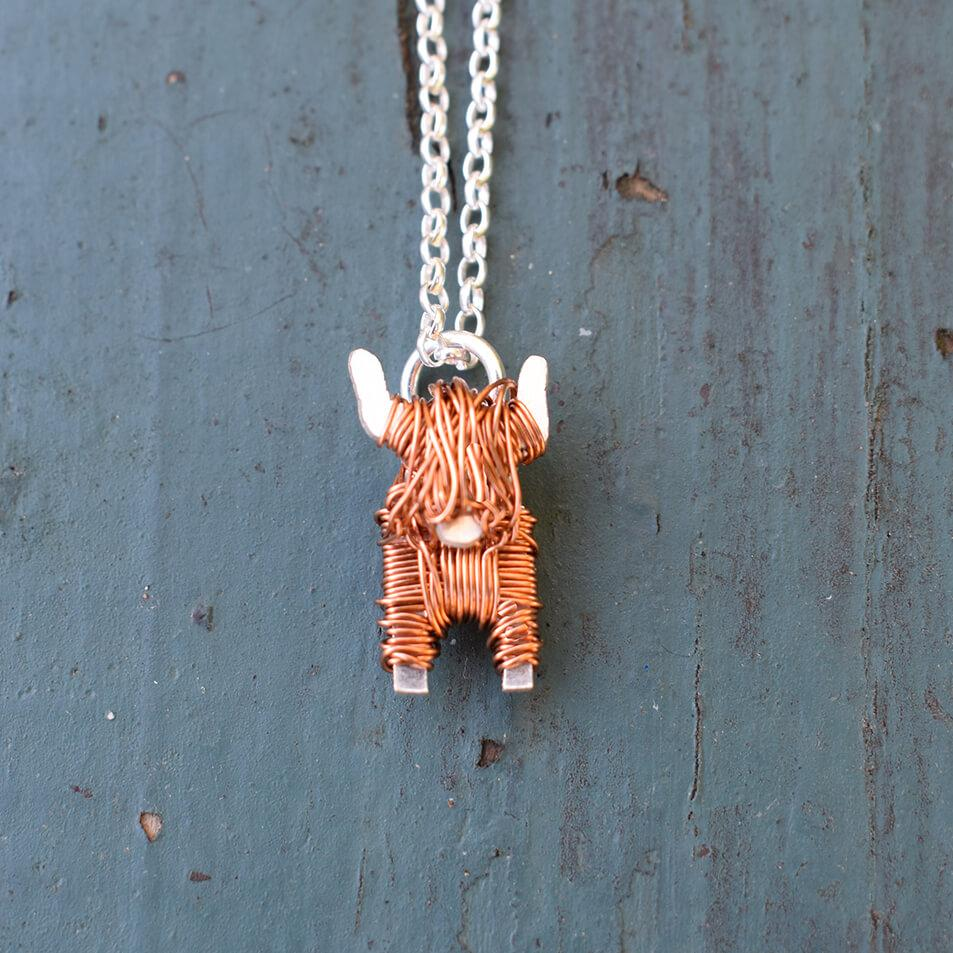 Highland cow necklace, highland cow gift for woman