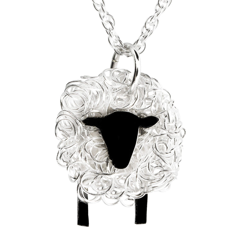 Handcrafted silver sheep necklace facing front - FreshFleeces, sheep jewellery, sheep jewelry, suffolk sheep necklace, suffolk sheep gift, suffolk sheep jewellery, suffolk sheep jewelry