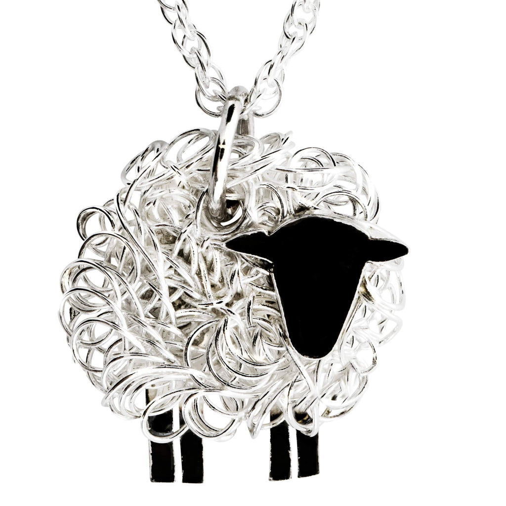 Handcrafted silver sheep necklace facing right - FreshFleeces, sheep jewellery, sheep jewelry, suffolk sheep necklace, suffolk sheep gift, suffolk sheep jewellery, suffolk sheep pendant, silver suffolk sheep