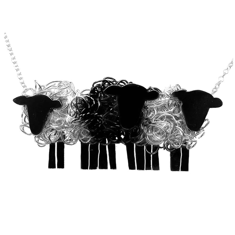 black sheep necklace, black sheep pendant, 3 sheep necklace, black sheep jewellery, black sheep jewelry, black sheep gift, black sheep present