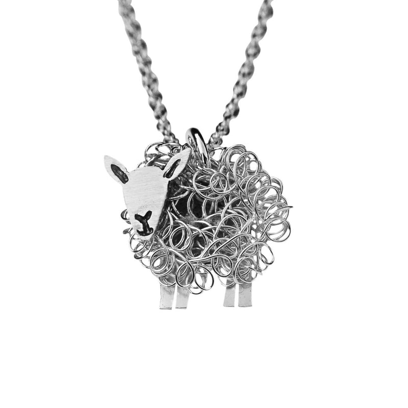Silver Cheviot sheep pendant necklace - FreshFleeces, sheep jewellery, sheep jewelry, cheviot sheep gift, cheviot sheep jewellery, cheviot sheep charm, cheviot sheep present, cheviot birthday gift, cheviot jewellery