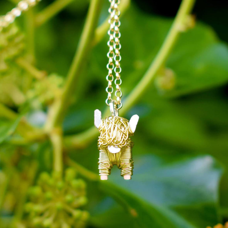 gold cow chain, 18ct highland cow, 18ct cow, gold highland cow