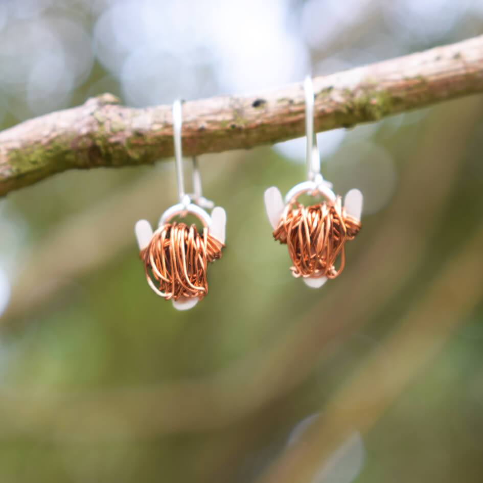 Highland cow earrings, highland cow gift
