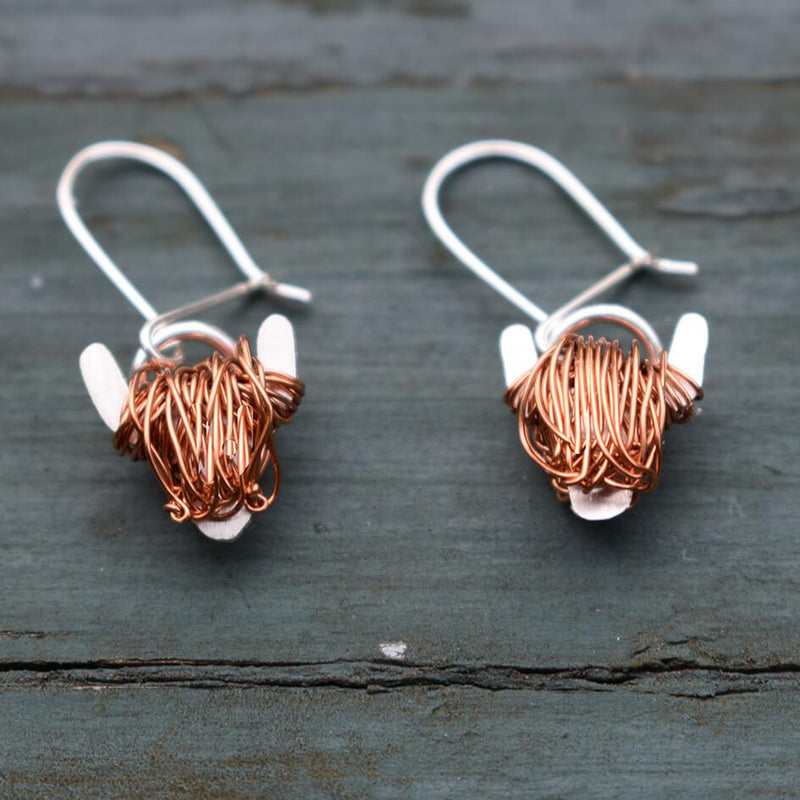 Highland cow drop earrings, highland cow jewellery