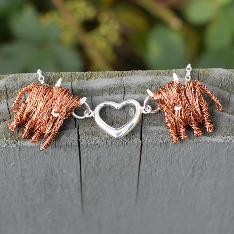 Highland Cow 'Love Moo' necklace, highland cow gift for her, Scottish jewellery