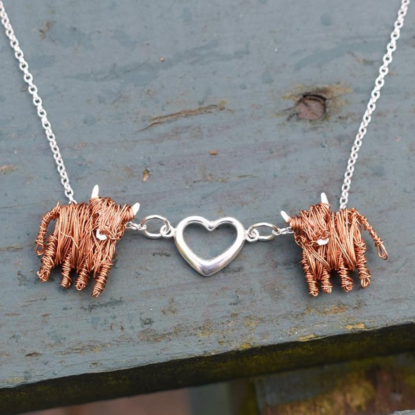 Handcrafted Highland Cow 'Love Moo' necklace - FreshFleeces, highland cow jewellery, highland cow jewelry, highland cow gift, highland cow love, love moo