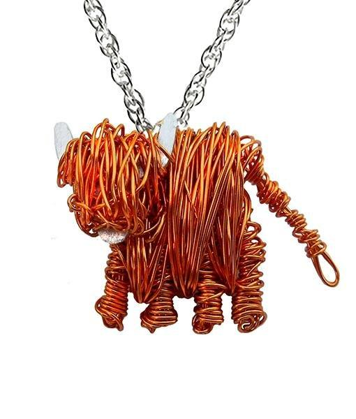 Highland cow necklace, Highland cow jewellery gift, Scottish Cow necklace