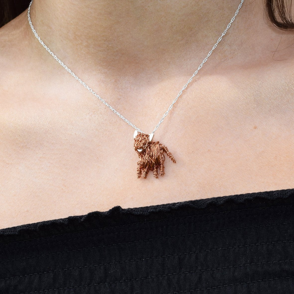 highland cow necklace, scottish necklace, scottish jewellery, cow jewellery, cow necklace, copper necklace, cow jewellery, animal jewellery