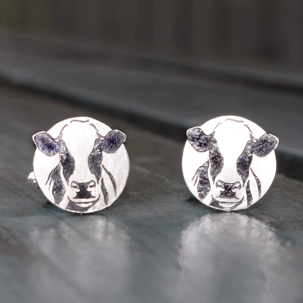 Dairy cow gift for him, Friesian cow cufflinks
