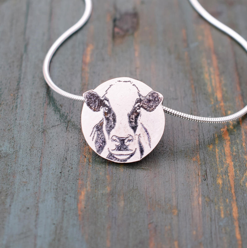 Holstein Friesian dairy cow silver necklace