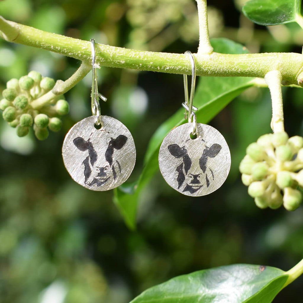 Holstein Friesian cow earrings, silver cow jewellery, cow gift for woman