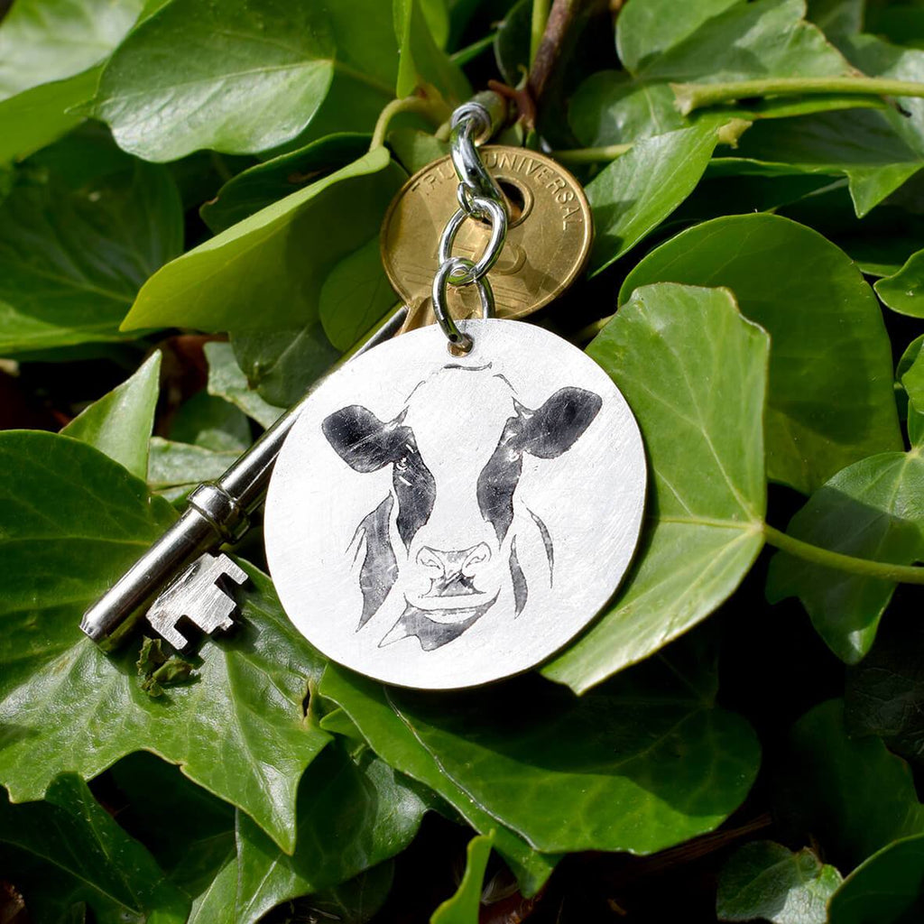 silver dairy cow keyring, silver cow keyring, holstein friesian gift for man, gift for cattle farmer