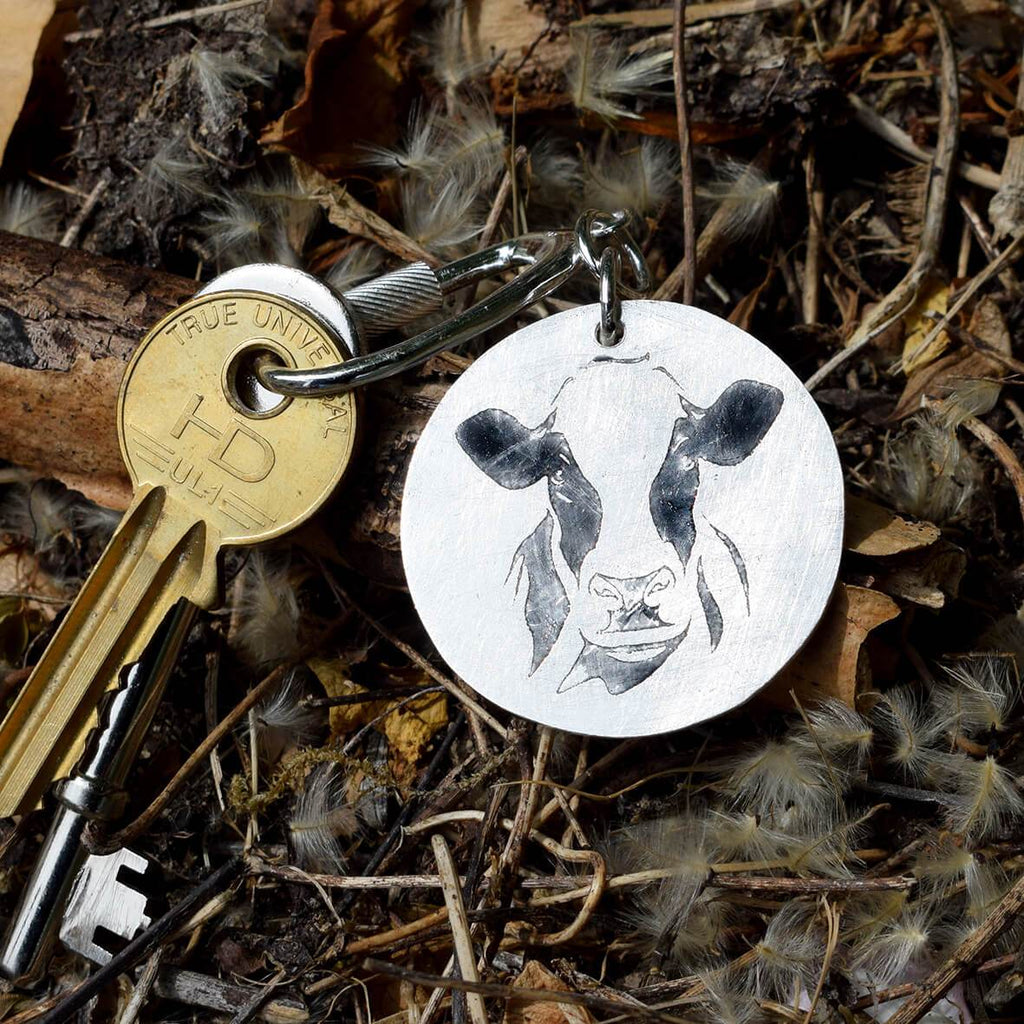 holstein friesian cow keyring, dairy cow keyring, cow keyring, silver cow keyring, gift for dairy farmer