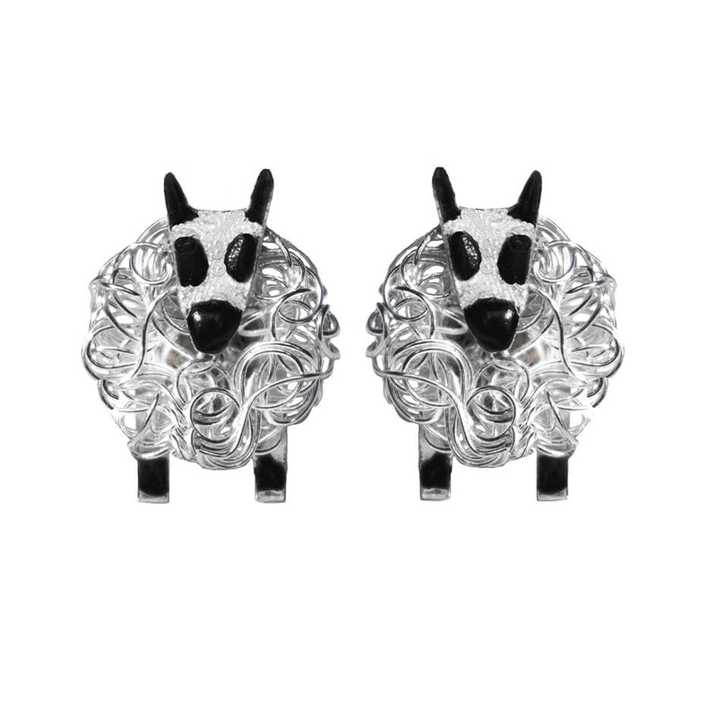 Silver Kerry Hill sheep earrings