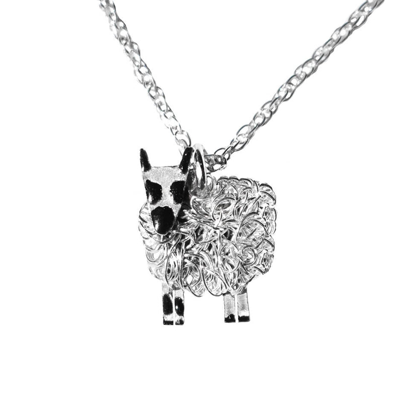 Silver Kerry Hill sheep necklace