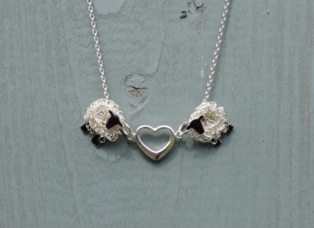 Handcrafted 'Love Ewe' silver sheep necklace with heart - FreshFleeces, sheep jewellery, sheep jewelry, sheep gift for her