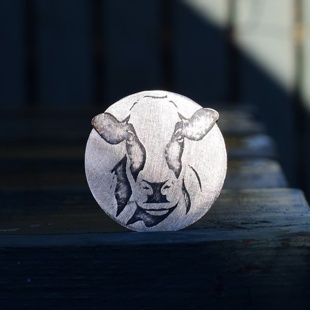 Cow brooch, holstein friesian silver cow brooch, dairy cow present