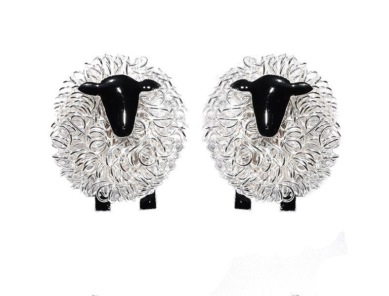 Silver sheep cufflinks - FreshFleeces, suffolk sheep cufflinks, suffolk sheep gift for men, sheep gift for farmer, cufflinks for farmer, gift for shepherd, cufflinks for shepherd, gift for sheep breeder, sheep wedding present, sheep wedding gift, countryside cufflinks, farming cufflinks, farmer cufflinks