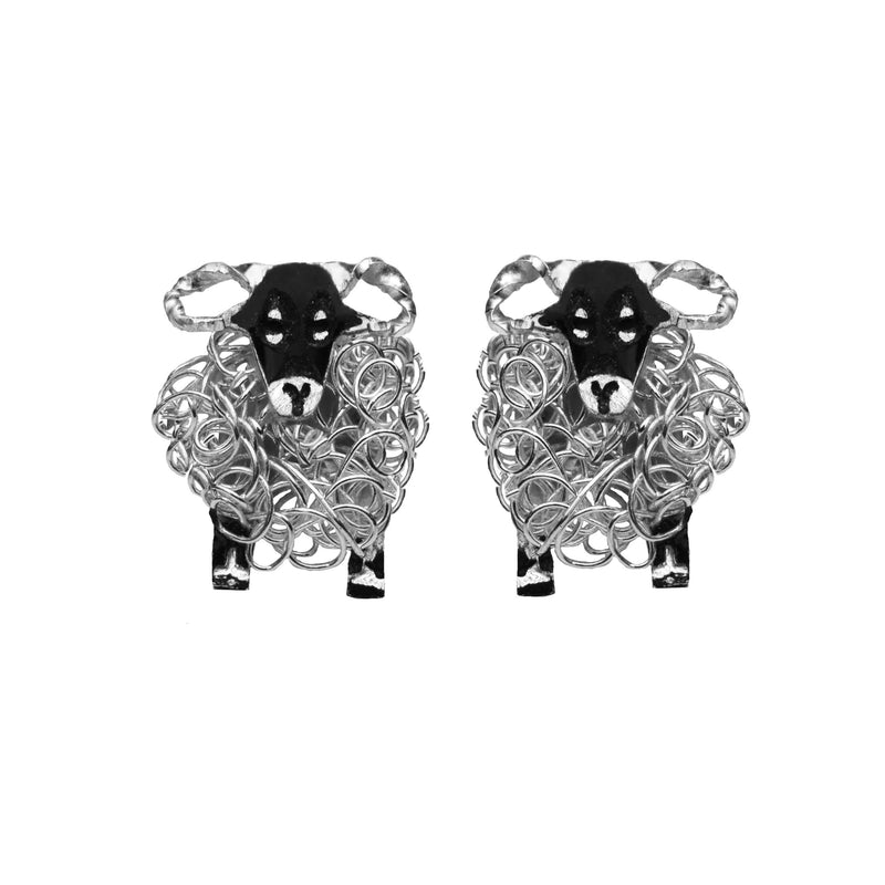 Silver Swaledale sheep earrings - FreshFleeces, swaledale sheep jewellery, swaledale sheep jewelry, swaledale sheep gift, swaledale sheep present for woman, yorkshire sheep gift, yorkshire shepherdess gift, yorkshire jewellery gift, yorkshire sheep earrings, gift for yorkshire shepherdess, gift for yorkshire vet