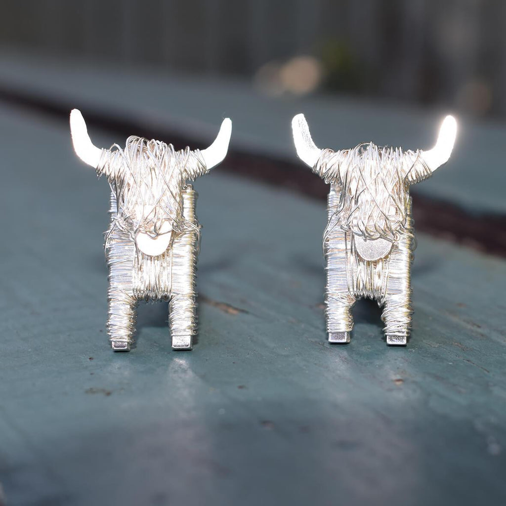 Silver Highland Cow cufflinks, Highland cow gift for men