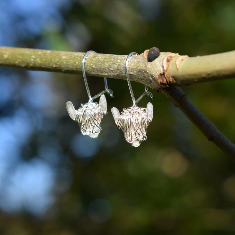 Silver Highland Cow drop earrings, White Highland cow gift
