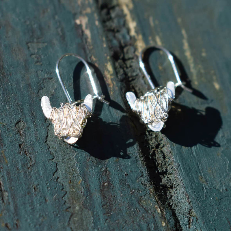 White Highland cow earrings, Highland cow gift for her