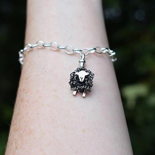 Silver Herdwick sheep charm - FreshFleeces, Herdwick sheep jewellery, herdwick sheep gift, herdwick sheep present, herdwick sheep bracelet, herdwick sheep jewelry, herdy sheep gift, herdy sheep jewellery, lake district gift, lake district jewellery, cumbrian sheep gift, Herdwick sheep charm