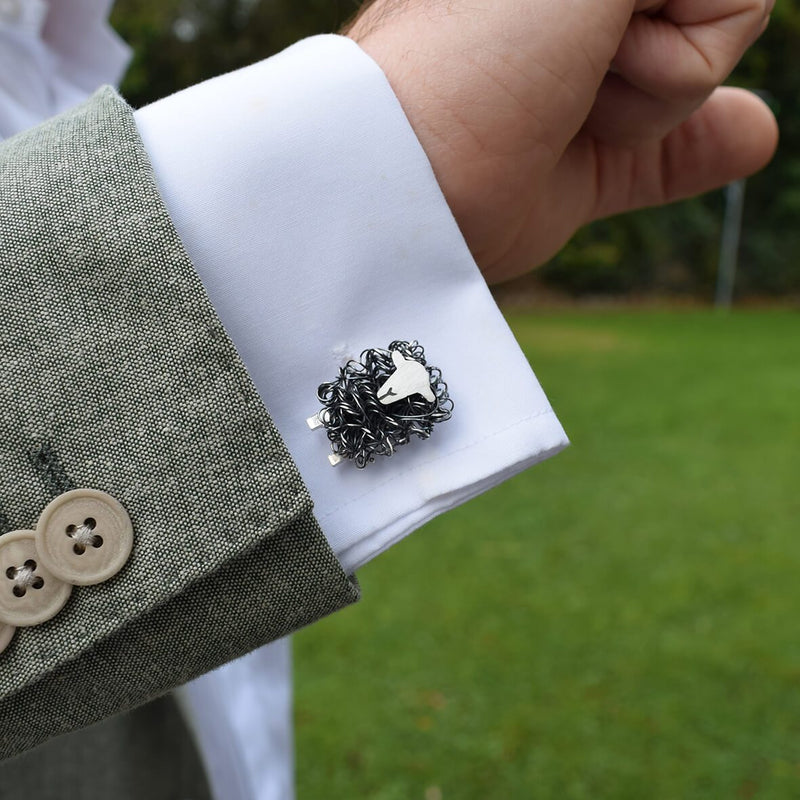 Silver Herdwick sheep cufflinks - FreshFleeces, herdy shepherd gift, Herdwick sheep gift for men, Herdwick sheep wedding present, Herdwick sheep gift, Lake district cufflinks, Cumbrian cufflinks, Herdwick sheep jewellery
