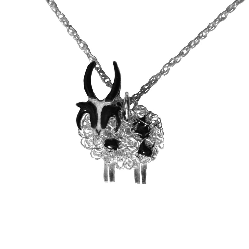 Silver Jacob 4 horned sheep necklace - FreshFleeces, jacob sheep jewellery, jacob sheep jewelry, horned sheep necklace, horned sheep jewellery, jacob sheep gift, horned sheep present