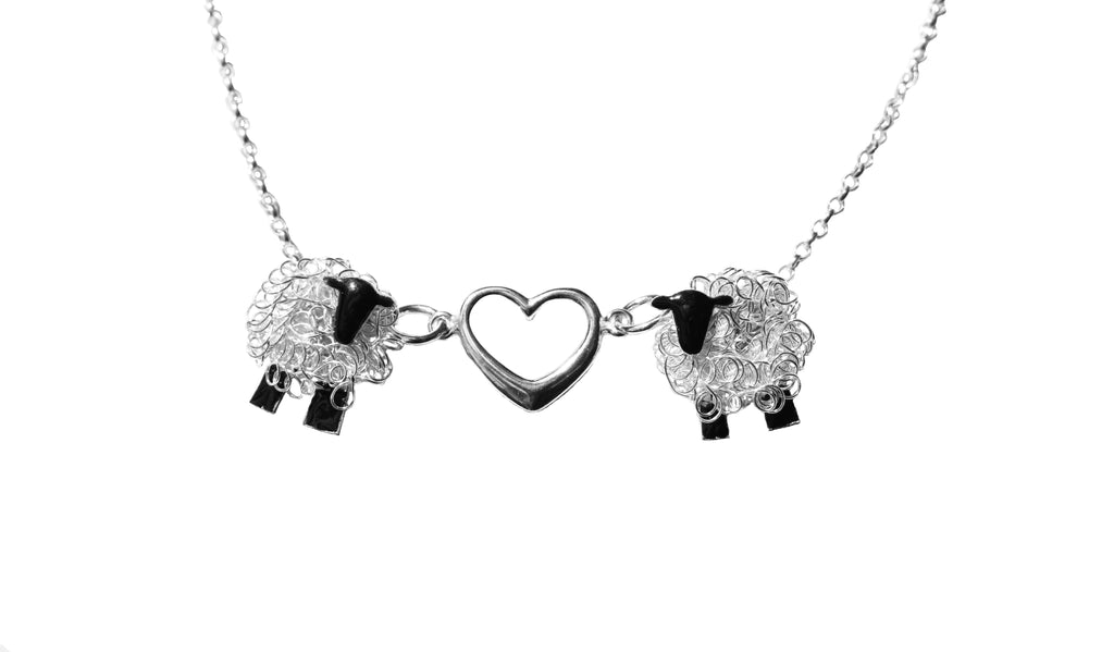 Silver sheep necklace, I love Ewe sheep gift