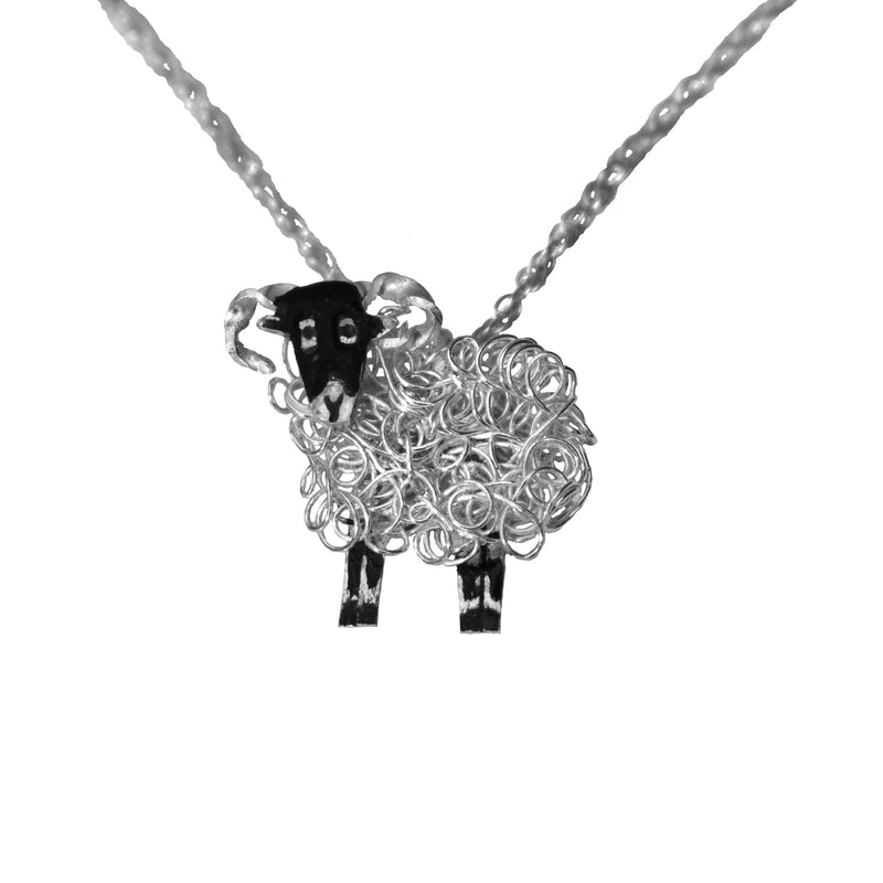 Silver Swaledale sheep pendant necklace - FreshFleeces, swaledale sheep jewellery, swaledale sheep jewelry, silver swaledale sheep, swaledale sheep present for her, swaledale necklace, swaledale sheep jewellery