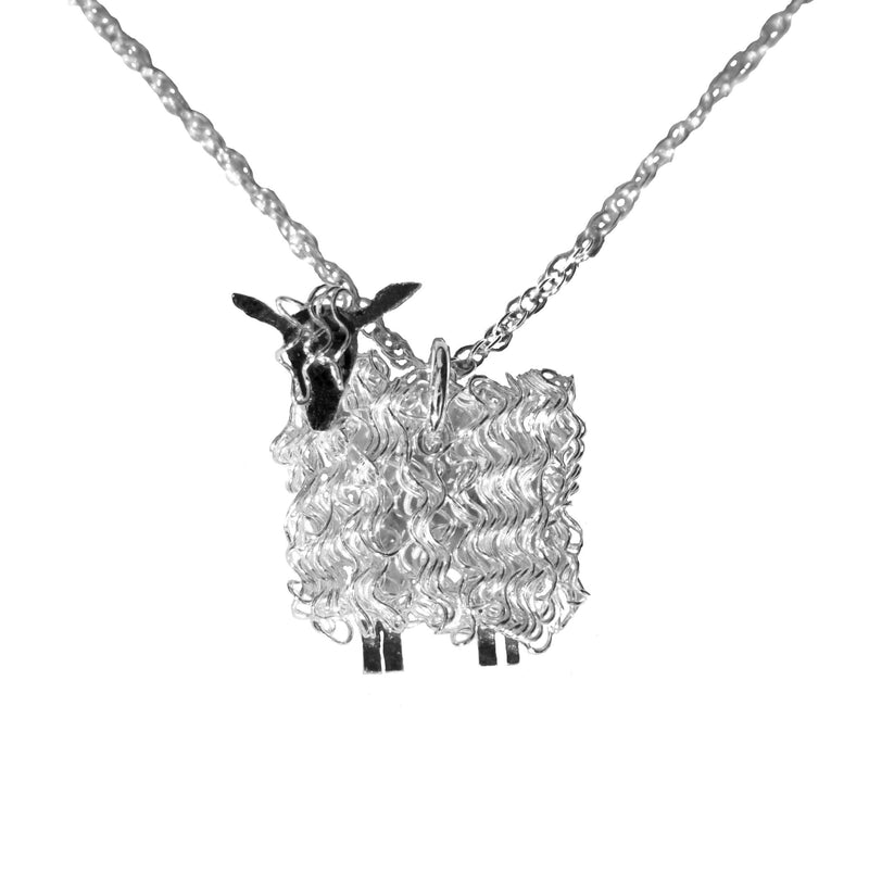 Silver Wensleydale sheep pendant necklace - Fresh Fleeces, sheep jewellery, sheep jewelry, wensleydale jewellery, wensleydale jewelry