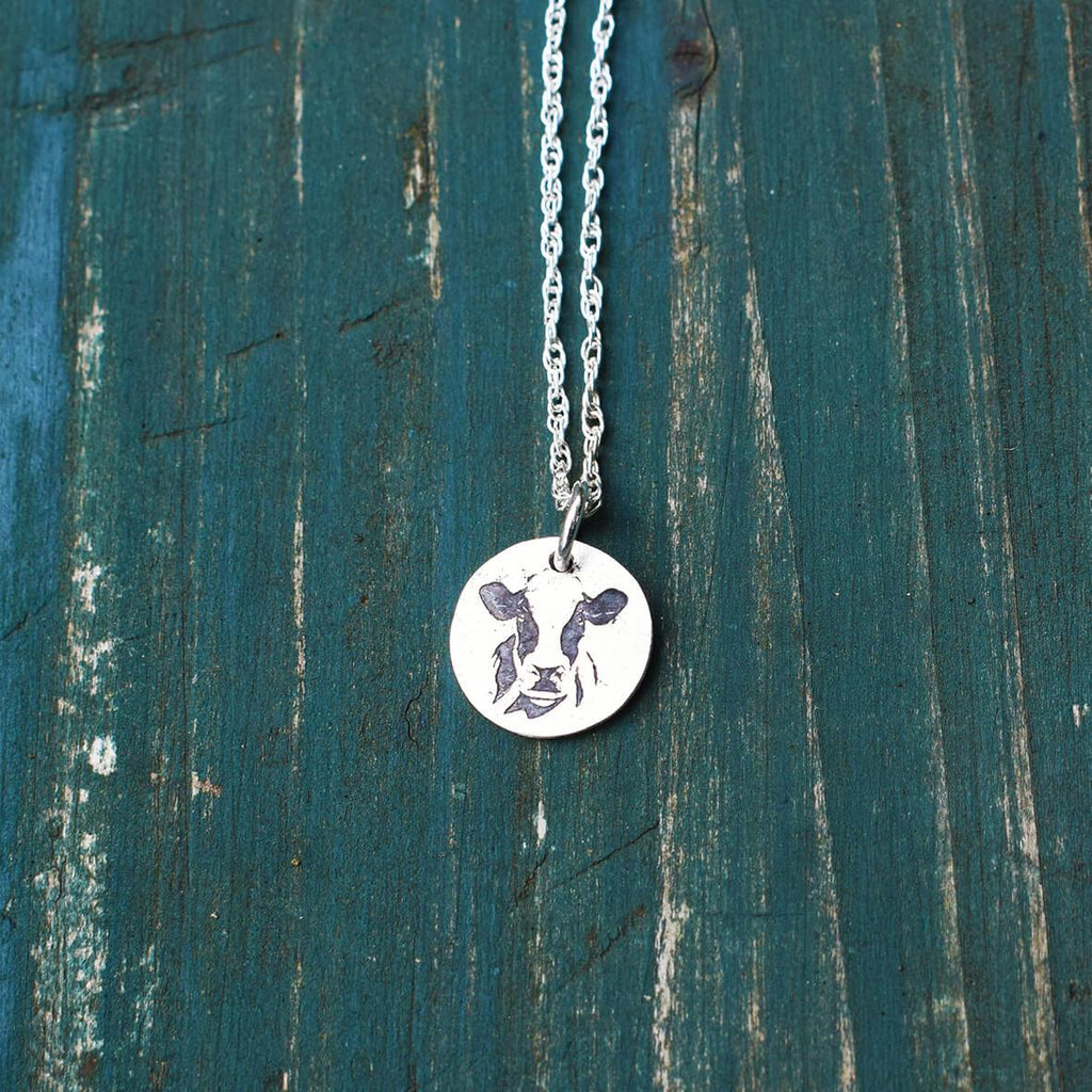 dairy cow pendant, dairy cow gift, jewellery for farmer, black and white cow necklace