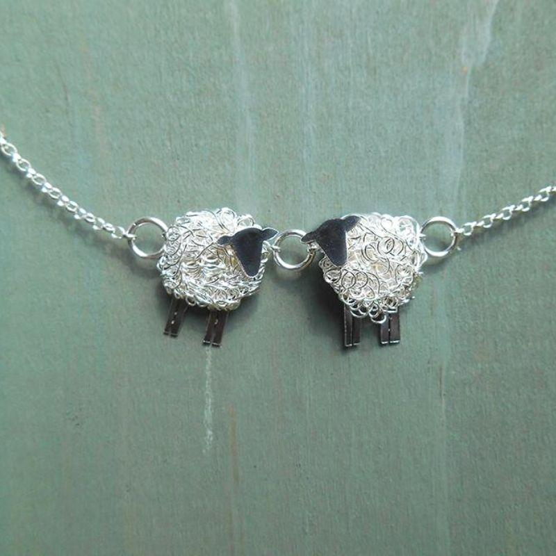 2 sheep necklace, love ewe, 'Love Ewe' silver sheep necklace - Suffolk sheep gift for her