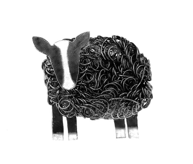 Silver Zwartbles sheep brooch - Fresh Fleeces, zwartbles sheep jewellery, zwartbles sheep jewelry, badger face sheep brooch, black and white sheep brooch, zwartbles sheep pin, silver zwartbles sheep, zwartbles gift