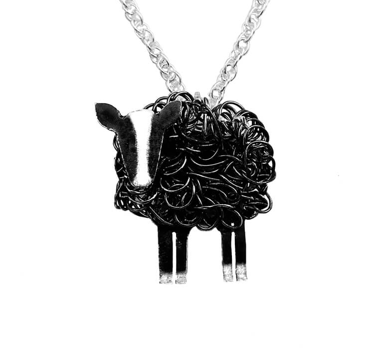 Silver Zwartbles sheep necklace - Fresh Fleeces, zwartbles sheep jewellery, zwartbles sheep jewelry, zwartbles sheep gift for her