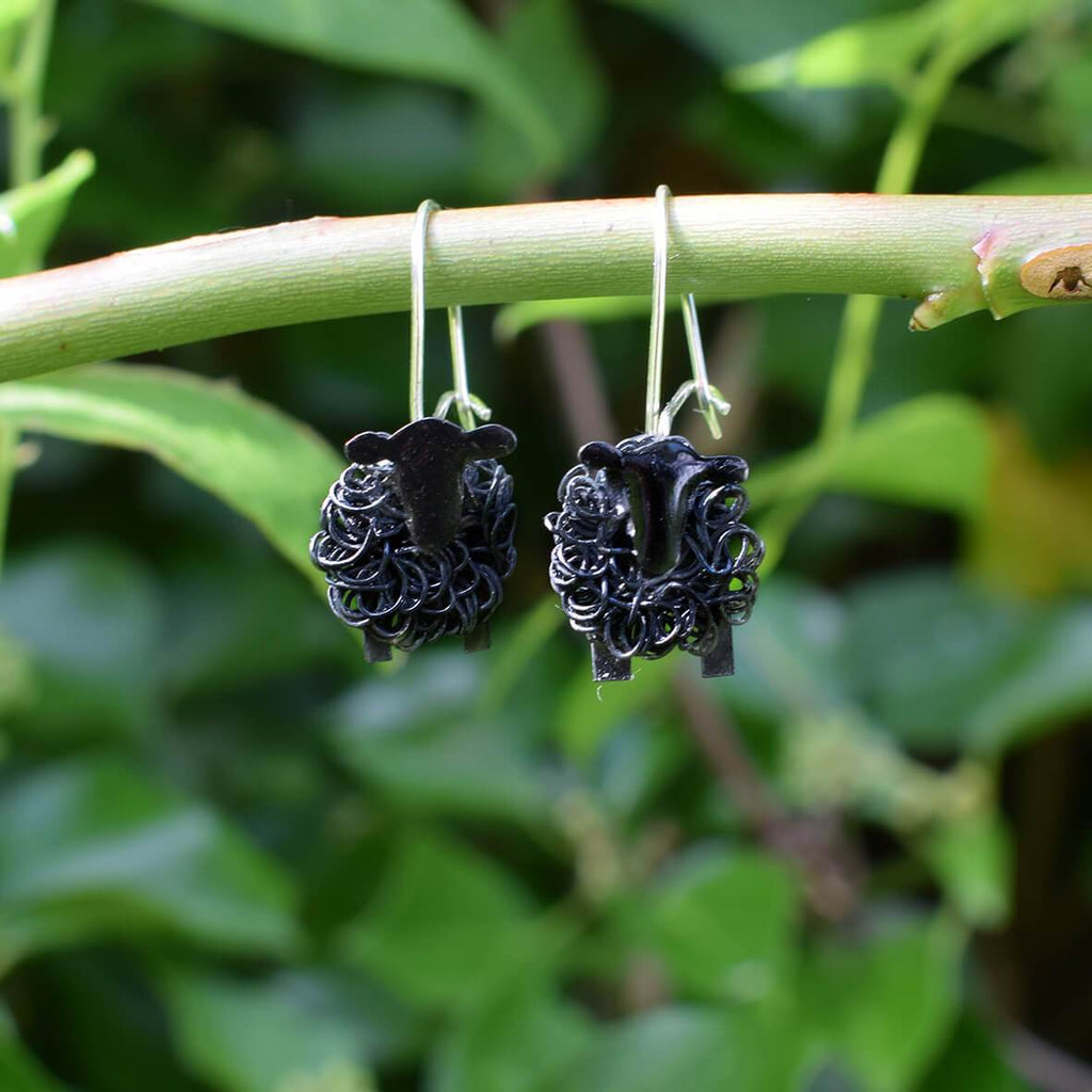 sheep drop earrings, sheep dangly earrings, black sheep earrings, black sheep drop earrings, black sheep jewellery, black sheep gift, present for black sheep, not a sheep gift