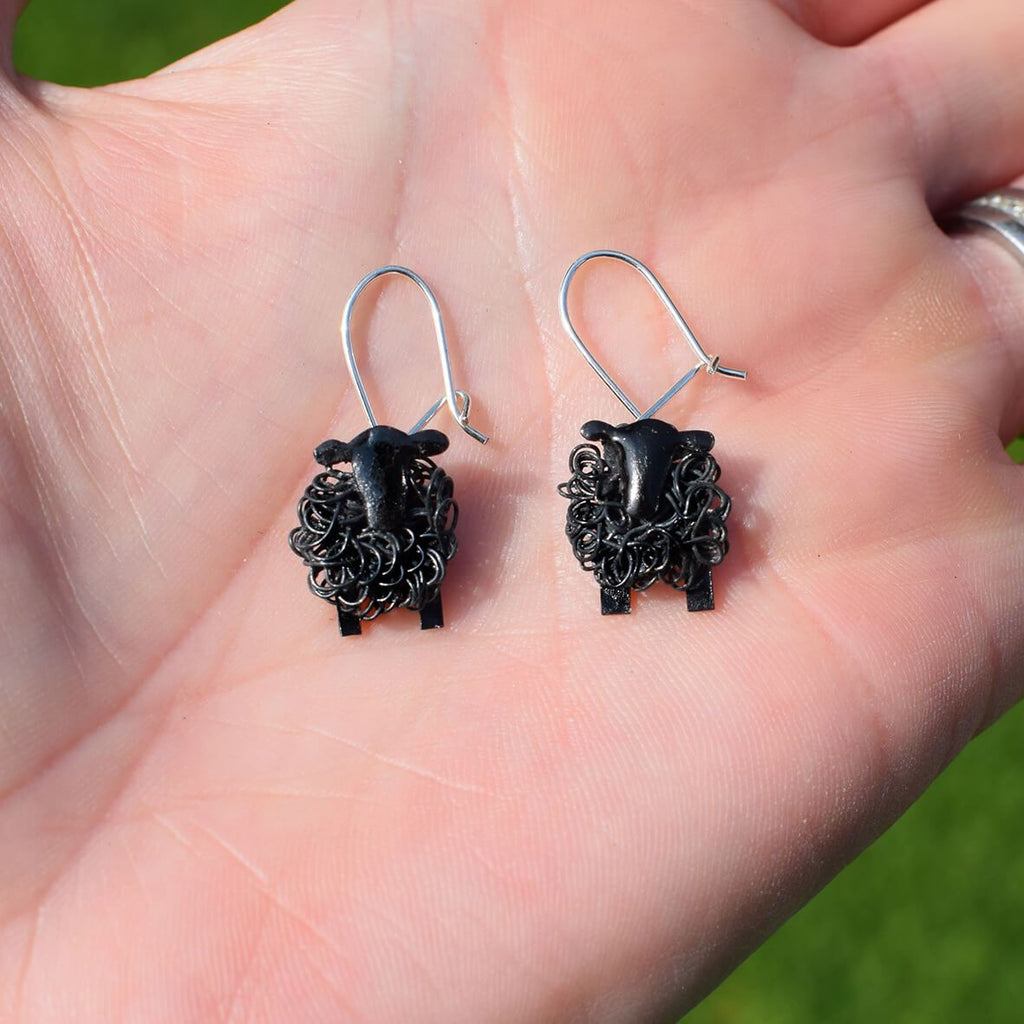 black sheep earrings, black lamb earrings, sheep earrings, shepp drop earrings, dangle sheep earrings, black sheep present for her, gift for farmers wife, gift for female farmer, present for shepherdess