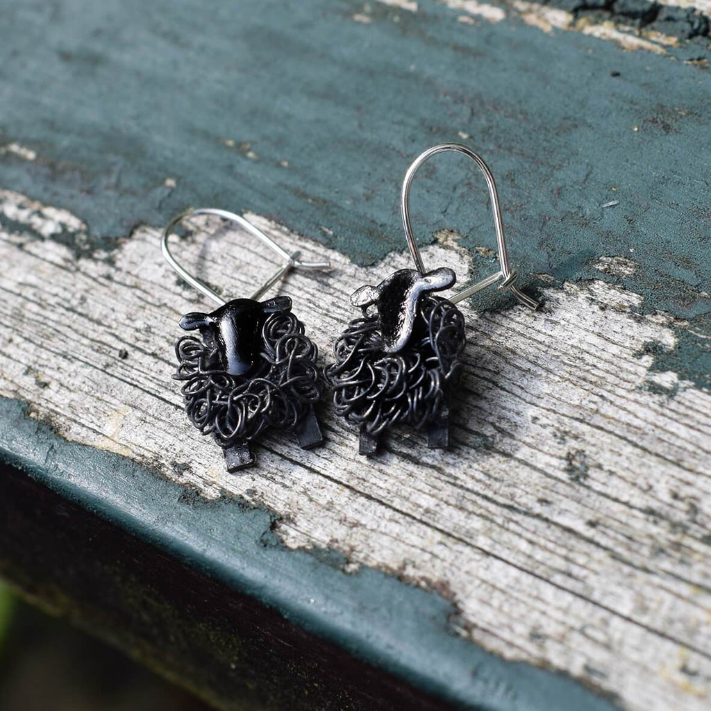 black sheep earrings, black sheep jewelry, black sheep jewellery, present for black sheep,  black earrings, black silver earrings, oxidised silver earrings, gift for daughter, countryside earrings, animal earrings