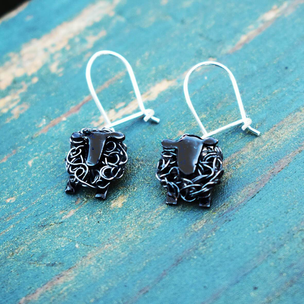 black sheep drop earrings, black sheep earrings, black sheep jewellery, black sheep gift for woman