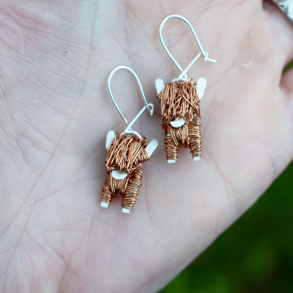 silver and copper highland cow drop earrings, highland cow earrings, highland cow jewellery gift for woman, Scottish cow earrings, Scottish drop earrings