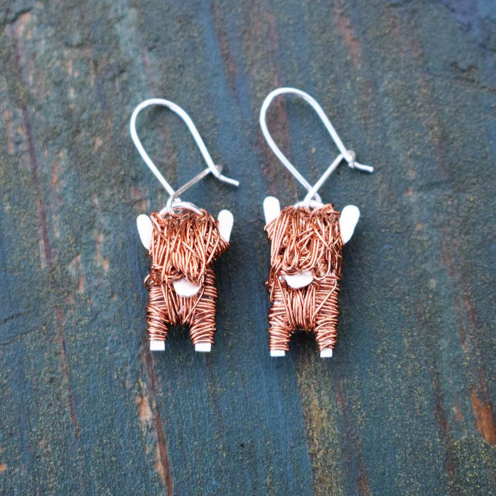highland cow earrings, highland cow drop earrings, cow drop earrings, copper cow earrings, highland cow jewellery, highland cow present for her