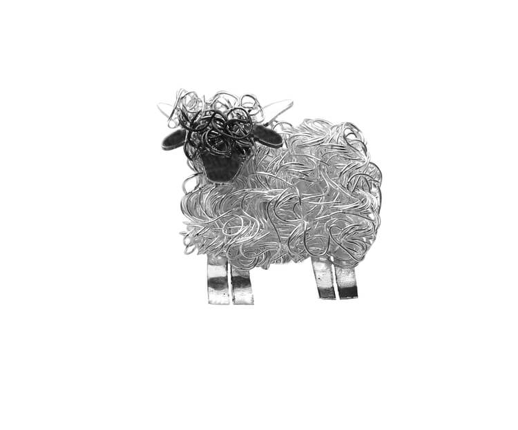 Silver Valais Blacknose sheep brooch - Fresh Fleeces, valais Blacknose jewellery, valais blacknose jewelry, swiss sheep jewellery, switzerland sheep jewellery, valais blacknose gift, swiss sheep jewellery gift, valais blacknose pin, valais blacknose badge, silver valais blacknose sheep