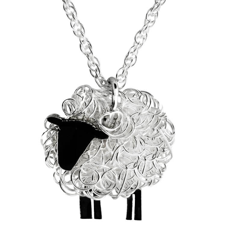Silver sheep pendant facing left - FreshFleeces, sheep jewellery, sheep jewelry, suffolk sheep gift, necklace for farmer, necklace for shepherdess, gift for vet, silver sheep necklace, sheep gift, sheep present for women, countryside earrings, welsh necklace, welsh gift, welsh jewellery